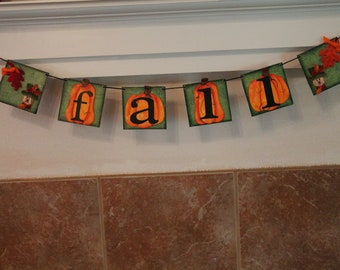 Scarecrow  and Pumpkins Banner..Fall Days..Holiday Banner...Fall Banner...Scarecrows and Pumpkins Fall Decor. Ready to Ship