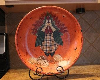 Chicken Bowl/Tray Wood.. Terra Cotta Color..Patchwork Chicken...Kitchen Decor..Home Decor..Chicken Collector