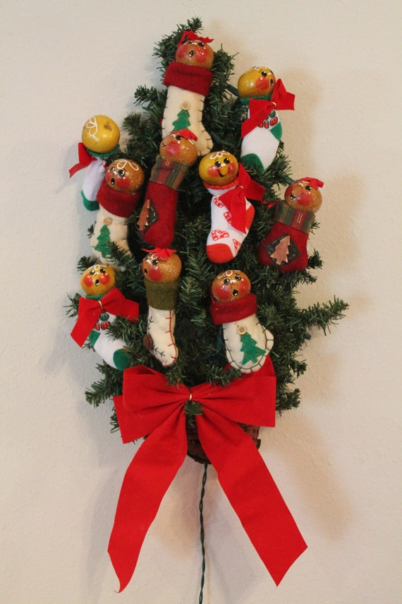 Gingerbread Gourd Ornaments in Stockings and Socks...Tree Decor...Christmas Decor...Holiday Decor