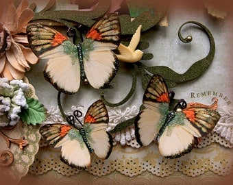 Reneabouquets Butterfly Set - Harmony Butterflies Scrapbook Embellishment Tag Card Mini Album Wedding Tim Holtz