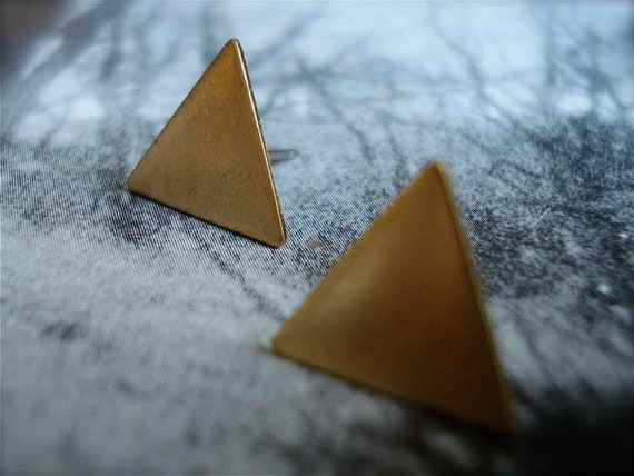 Triangle Earrings Geometric Tribal Metal 13mm Stud Posts