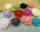 wholesale 50 pcs 18x20mm Mixed color Resin Rose Flowers Cameo Cabochon Pendants fd4321