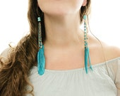 Turquoise Feather Earrings . Long Statement Earrings with Turquoise gemstones on Gold Vermeil earwires - VintageRoseShop