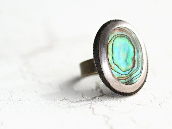 Abalone Ring . Adjustable Paua Shell Ring - Handmade Abalone Jewelry