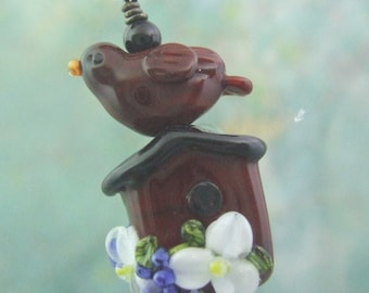 Cardinal Cottage Birdhouse Pendant, Torchwork Jewelry Handcrafted in North Carolina