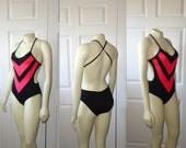 Vintage Swimsuit Marina Delmar Neon Pink & Black Chevron Criss-Cross Back Plunging Neck sz Small to Medium