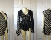 Vintage Robe 70s 80s Lace Nightie Bed Jacket Add Spice To Your Nightie One Sheer Sexy sz M L