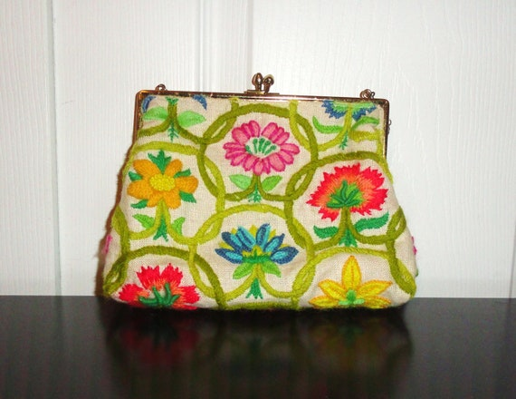 Vintage Purse 50s 60s Mad Men Handbag Floral Embroidered Gold Chain