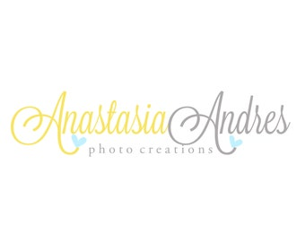 Premade Logo Design for Photographers and Small Crafty Boutiques Yellow and Grey Script