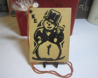 1939 art deco Alpha Theta Phi Kappa Sigma christmas formal Dance card with graphics of snowman wearing top hat can mug of beer