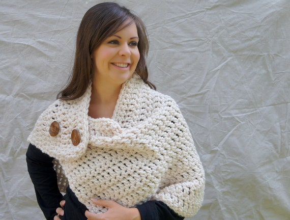 Chunky crochet wrap warmer with buttons winter by QuimsyCo