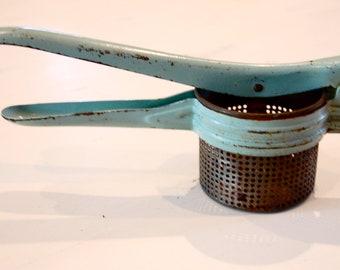 Vintage Turquoise Aqua Blue Potato Masher Ricer Strainer
