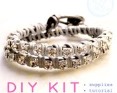 wrap bracelet KIT: crystal chain, SILVER leather, materials and tutorial makes one friendship bracelet