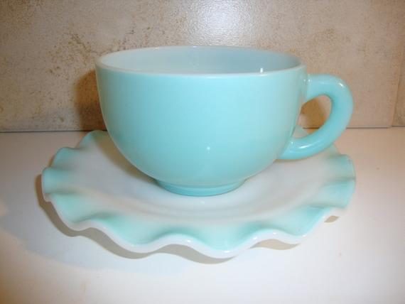 Hazel Altlas Aqua Crinoline Ripple Teacup and Saucer