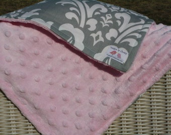 Gray Damask with Light Pink Minky Blanket