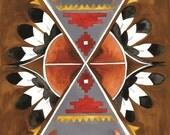 Shield of the Southwest Art Print: 8 x 10 symmetrical pattern design