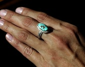 Sterling Silver Ring with No. 8 Turquoise (SIZE 6)