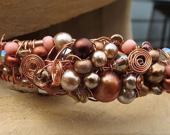 Copper Splash  Wrapped Bracelet