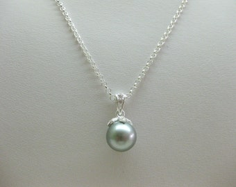 9.5mm Grey Akoya Pearl Pendant with Chain - FREE SHIPPING