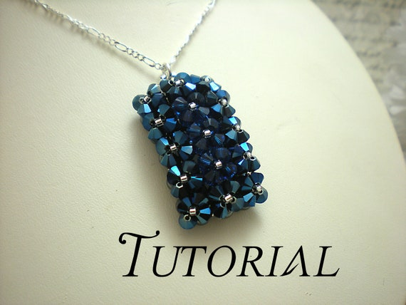 Tutorial PDF Right Angle Weave Swarovski Pillow Top Pendant Necklace, Instant Download