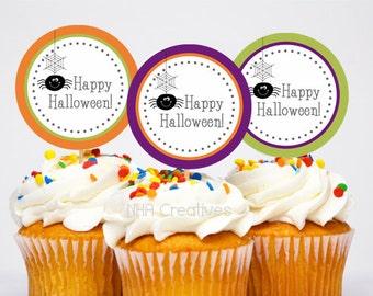 Happy Halloween Cupcake Toppers - DIY Printable Digital File