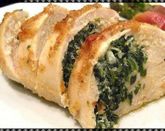Spinach Stuffed Chicken Or Pork Recipe---Instant Download