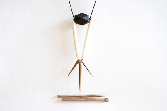 LAST ONE geometric, tribal, brass, black wood, white bone beads and black rope, long, beaded necklace