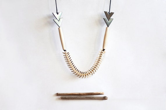 LAST ONE geometric, tribal, gold colored chain, grey chevron beads, hairpipe bone beads and black rope, long, beaded necklace