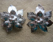 Vintage Silver Aluminum Layered Maple Leaf Clip Earrings