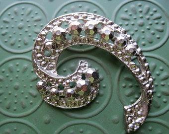 Pretty Vintage Silver Cut Steel/Faux Marcasite Swirl Brooch