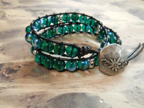 Double Wrap Leather Bracelet- Turquoise and Silver Toned