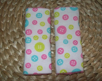Minky Dot Reversible Carseat Strap Covers  Buttons