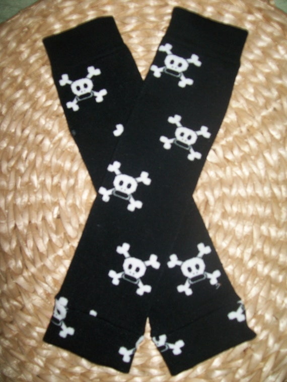 Baby Boy Leg Warmers  Black with Skulls
