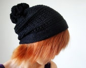 Hand Crocheted Hat in Black for Men and Women, Pom Pom hat, Slouchy Hat, Unique Flower Pom, Winter Accessories - lapuzelo