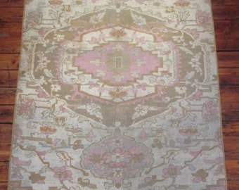 "Antique Ivory Vintage 19th Century Rug  4'4 1/2"" x 10'8"""
