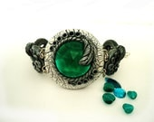 Polymer clay Bracelet with Green glass-stone