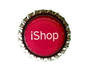 Shopping Bottle Cap Magnet - 'iShop' - Refrigerator Magnet, Funny, Humor, Bottlecap Decor