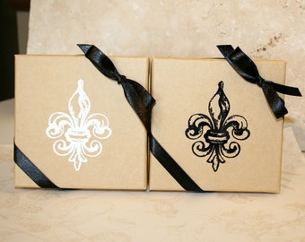 Embossed Gift Boxes, Paper gift box, Jewelry gift boxes, Decorative gift box, Fleur de lis