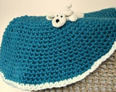 Chunky Crochet Baby Blanket, Crochet Lap Blanket in Liberty Blue and Creamy White (Hand Crocheted in Wool blend)