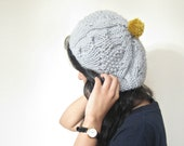 Pom pom Hat in Grey with Mustard Yellow, Unisex and Hand Knitted