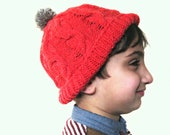 Children's hat hand knitted in Raspberry Red with Brown Pompom, boys hat, girls hat, unisex hat, READY TO SHIP
