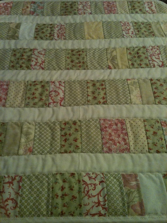 """Victorian, Floral, Soft and Feminine All Together In A 22"""" X 26"""" Quilt For Little Girls"""