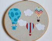 Hot Air Balloon Nursery Art- Embroidery Hoop Applique