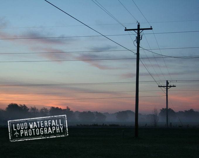 Sunrise, Rural Landscape, Oklahoma Dawn with Telephone Wires and Mist 8x12 10x15 12x18 16x24 Rural Travel Photograph