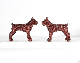 Mini Boxer Dog Ornaments. Brown Glitter Animal Lover Christmas Gift Set of 2 Birthday Party Favors, Home Decor or Wedding Favors