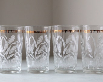 Wheat Drinking Glasses/ Tumblers in Gold and White Mid Century