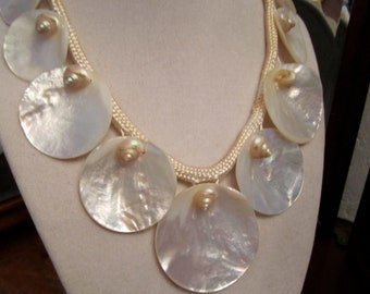 Vintage Shell Mermaid Statement Necklace Unique  Beach Wedding Chunky Choker Abalone Shell