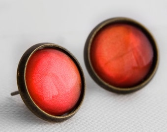 Florida Sunset Post Earrings in Antique Bronze - Fuschia, Red and Orange Shimmer Earrings