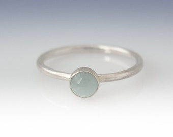 Aquamarine Ring - Stackable Sterling Silver Aquamarine Ring