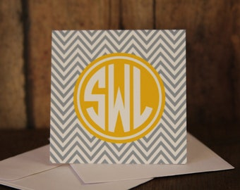 Monogrammed Gray Chevron and Yellow Gift Enclosure Cards with Envelopes